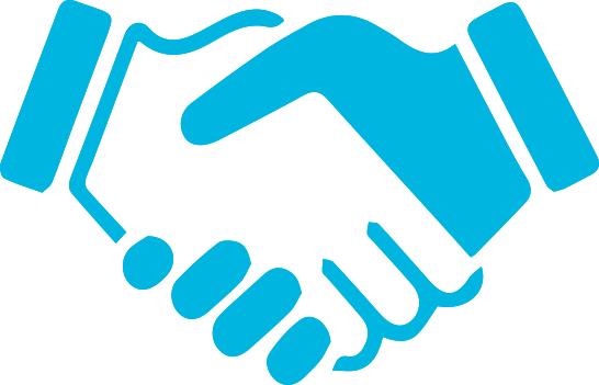 Blue hand shake vector